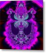 Neon Butterflies And Rainbow Fractal 137 Metal Print