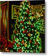 Neon Christmas Tree Metal Print