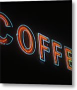 Neon Coffee Metal Print