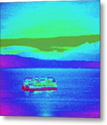 Neon Ferry Metal Print