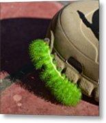 Neon Geen Caterpillar Loves Crocs Metal Print