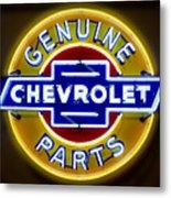 Neon Genuine Chevrolet Parts Sign Metal Print
