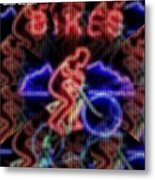Neon Lights Biker Illusion H A Metal Print