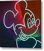 Neon Mickey Metal Print
