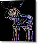 Neon Moose Metal Print