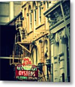 Neon Oysters Sign Metal Print