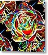 Neon Rose Metal Print