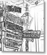 Neon Sign On Bourbon Street Corner French Quarter New Orleans Black And White Photocopy Digital Art Metal Print