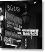 Neon Sign On Bourbon Street Corner French Quarter New Orleans Black And White Metal Print