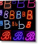 Neon Sign Series Featuring The Letter B  Metal Print