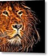 Neon Strong Proud Lion On Black Metal Print
