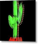 Neon Tucson Cactus Metal Print