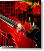 Neons Violin With Roses Metal Print