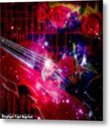 Neons Violin With Roses With Space Effect Metal Print