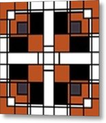 Neoplasticism Symmetrical Pattern In Tijuna Gamboge Metal Print