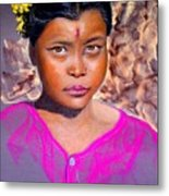 Nepalese Girl Metal Print by David  Horning