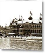 Neptune Casino And Onion-domed Bandstand, Santa Cruz Beach Circa 1904 Metal Print
