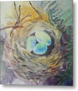 Nest In The Ferns Metal Print