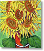 Never Enough Sunflowers Metal Print by Andrea Folts