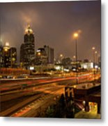 Never Sleeping Atlanta In Motion Midtown Light Trails Art Metal Print