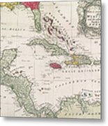 New And Accurate Map Of The West Indies Metal Print by American School