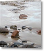 New England Beach With Rocks And Waves Metal Print