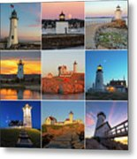 New England Lighthouse Collage Metal Print