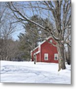 New England Red House Winter Metal Print