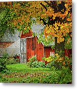 New England Rustic - New England Fall Landscape Red Barn Metal Print