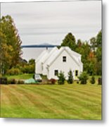 New England Traditional House In The Fall Metal Print