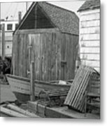 New England Wharf Scene In Black And White Metal Print