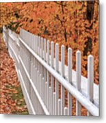 New England White Picket Fence With Fall Foliage Metal Print