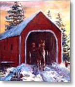 New England Winter Crossing Metal Print