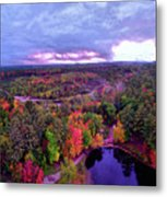 New Hampshire Fall Sunset Over Pond Metal Print