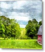New Hampshire Landscape Red Barn Etna Metal Print