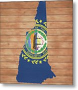 New Hampshire Rustic Map On Wood Metal Print
