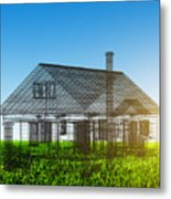 New House Wireframe Project On Green Field Metal Print