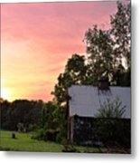 New Jersey Barn Sunset Metal Print