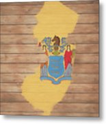 New Jersey Rustic Map On Wood Metal Print