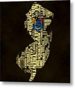 New Jersey Typographic Map 02 Metal Print