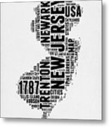 New Jersey Word Cloud 2 Metal Print
