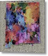 New Mexico Map Color Splatter 5 Metal Print