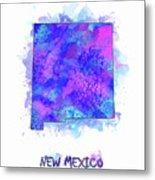 New Mexico Map Watercolor 2 Metal Print