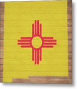 New Mexico Rustic Map On Wood Metal Print