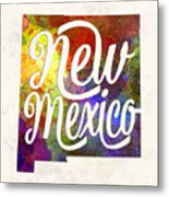 New Mexico Us State In Watercolor Text Cut Out Metal Print