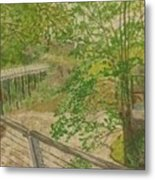 New Mills And Reflection Of Spring Metal Print