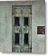 New Orleans Green Doors Metal Print