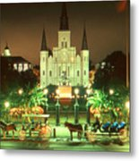 New Orleans Night Photo - Saint Louis Cathedral Metal Print