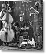 New Orleans Street Musicians Bw Metal Print