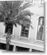 New Orleans Windows - Black And White Metal Print
